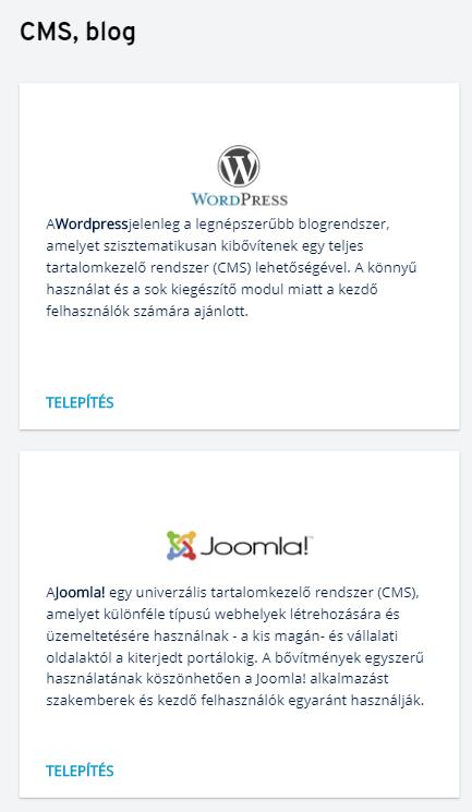Az Öntelepítő  CMS alkalmazás automatikus telepítője a kiszolgáló szolgáltatáson