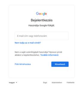 Bejelentkezés – Google-fiók